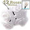 Artificial Flowers, Ribbon Roses, 0.25-inch, Green stem, White