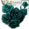 Artificial Flowers, Ribbon Roses, 0.25-inch, Teal Green