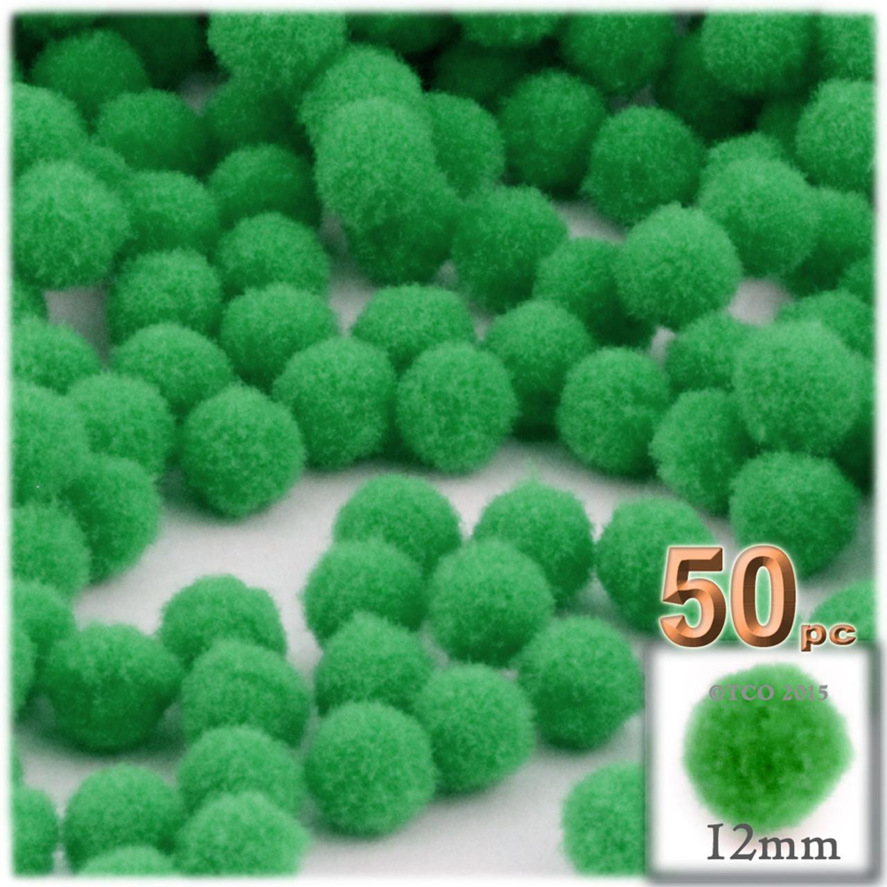 50 x EMERALD GREEN 25mm POM POMS