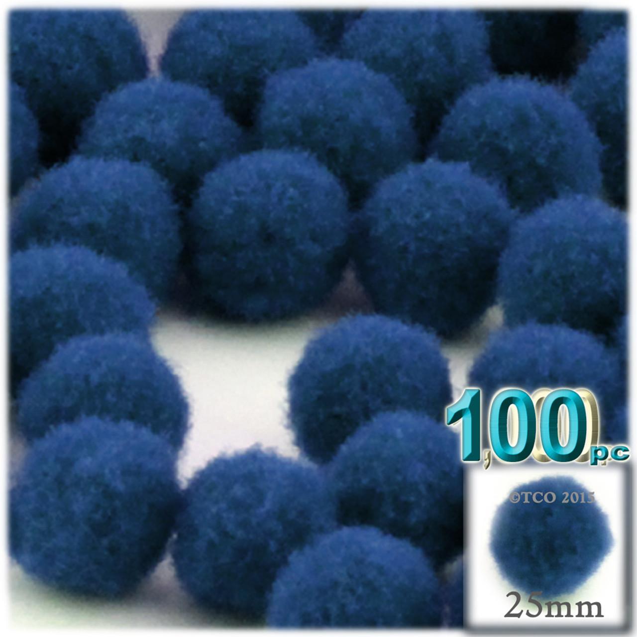 100 polyester 10 mm blue PomPoms