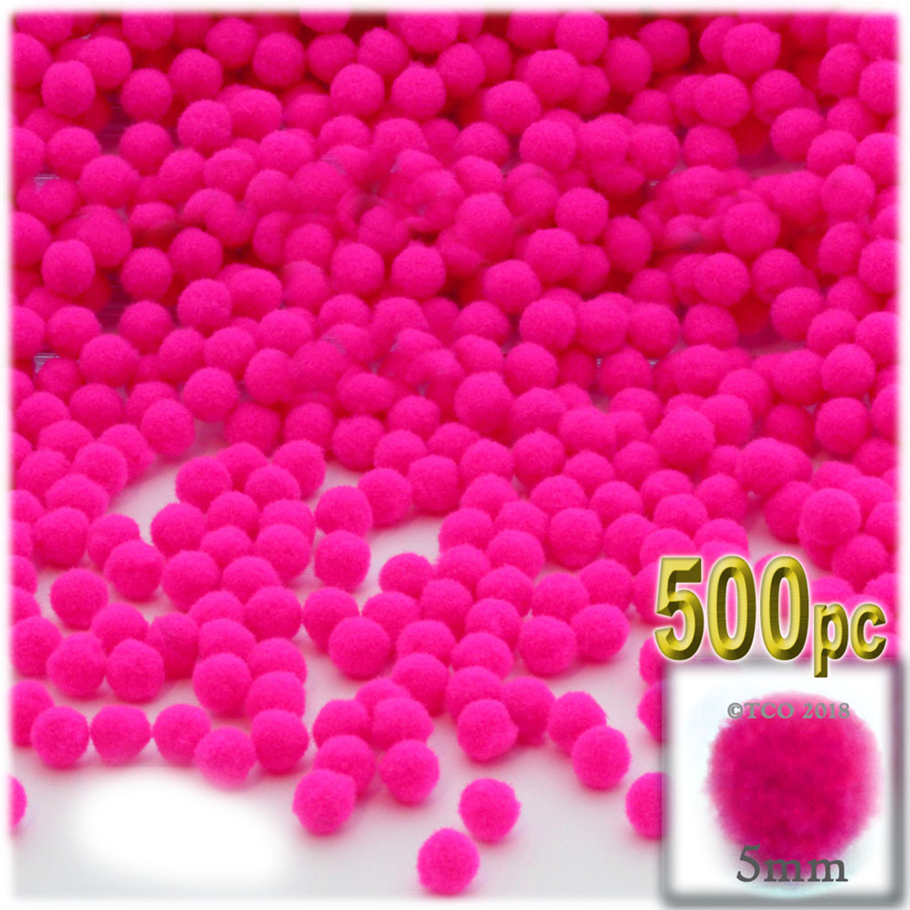 Yellow The Crafts Outlet Polyester Pom Poms solid Color 5mm//0.20-inch 500-pc