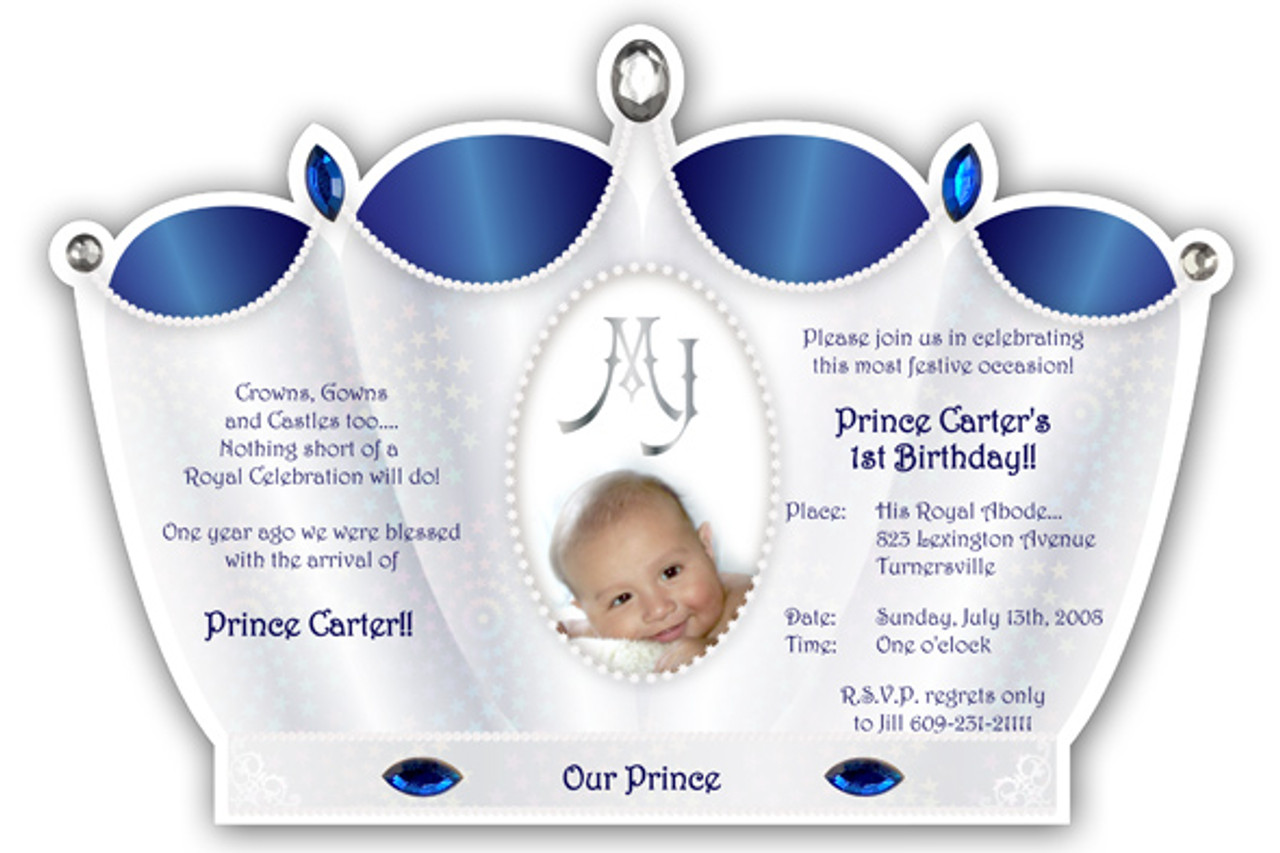 Little Prince Crown Invitation Silver With Royal Blue