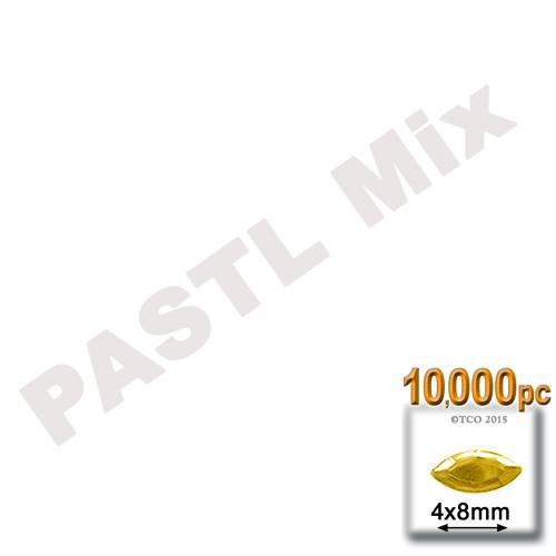 Rhinestones, Flatback, Eye, 4x8mm, 10,000-pc, Pastel Assortment