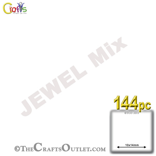 Rhinestones, Flatback, Teardrop, 14x10mm, 144-pc, Jewel Tone Assortment