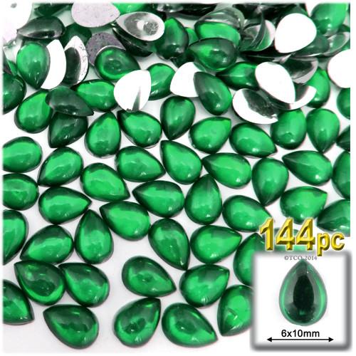 Rhinestones, Flatback, Teardrop, 6x10mm, 144-pc, Emerald Green