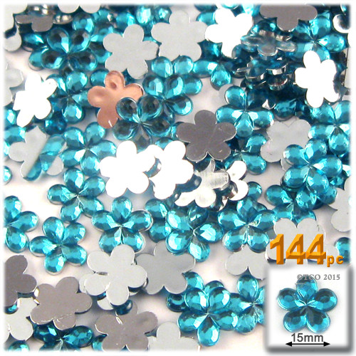 Rhinestones, Flatback, Flower, 15mm, 144-pc, Aqua Blue