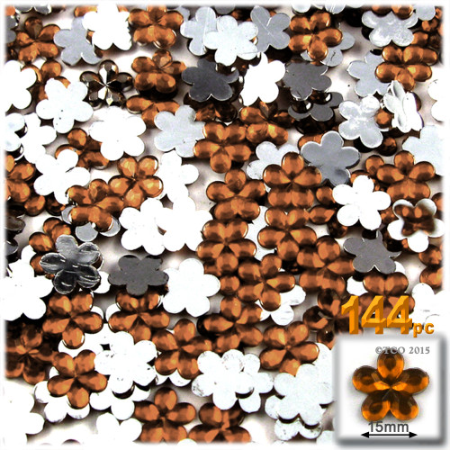 Rhinestones, Flatback, Flower, 15mm, 144-pc, Beer Brown
