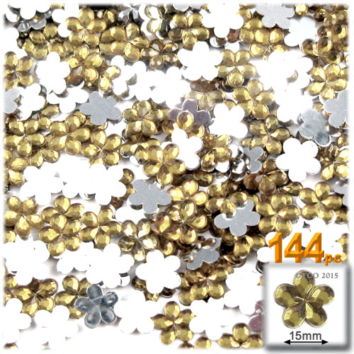 Rhinestones, Flatback, Flower, 15mm, 144-pc, Champagne Yellow