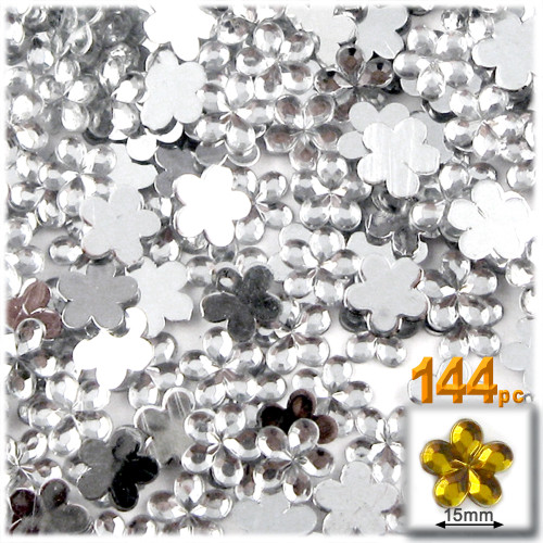 Rhinestones, Flatback, Flower, 15mm, 144-pc, Clear