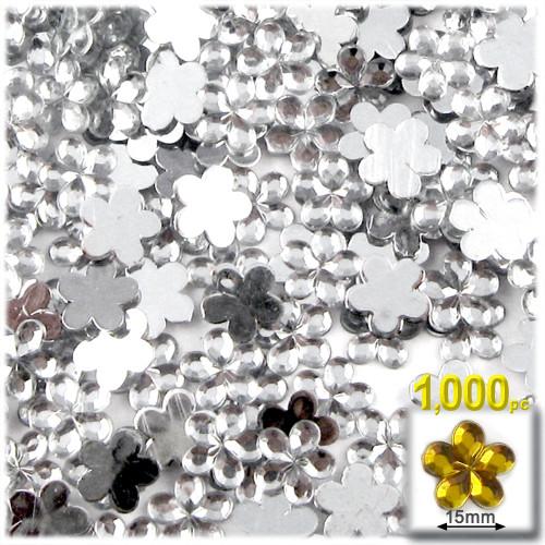 Rhinestones, Flatback, Flower, 15mm, 1000-pc, Clear