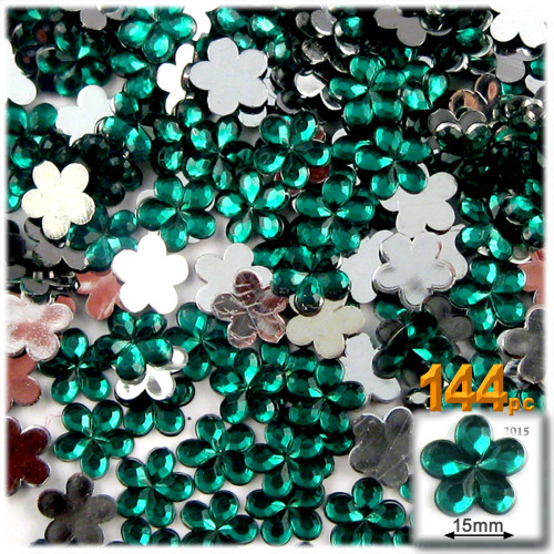 Rhinestones, Flatback, Flower, 15mm, 144-pc, Emerald Green