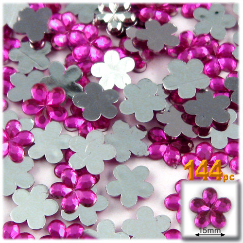 Rhinestones, Flatback, Flower, 15mm, 144-pc, Hot Pink Fuchsia