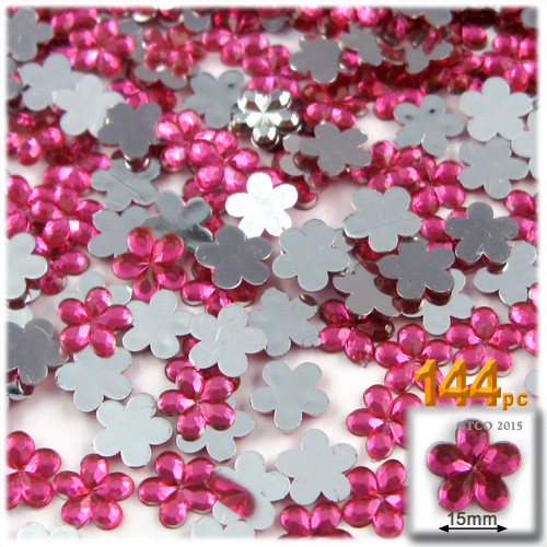 Rhinestones, Flatback, Flower, 15mm, 144-pc, Hot Pink