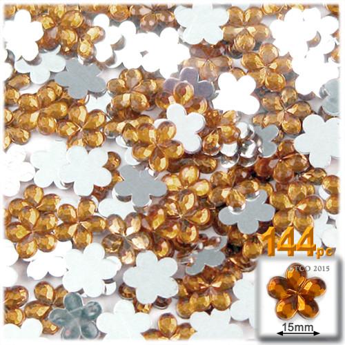 Rhinestones, Flatback, Flower, 15mm, 144-pc, Light Orange