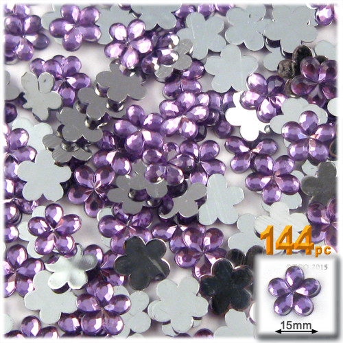 Rhinestones, Flatback, Flower, 15mm, 144-pc, Lavender