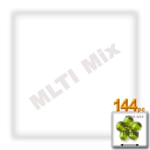 Rhinestones, Flatback, Flower, 15mm, 144-pc, Mixed Colors
