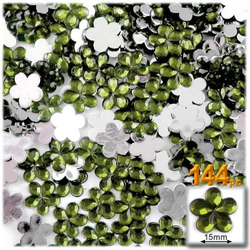 Rhinestones, Flatback, Flower, 15mm, 144-pc, Olive Green