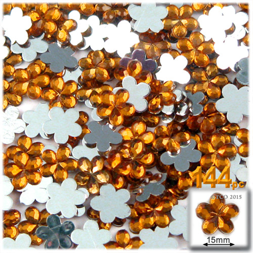 Rhinestones, Flatback, Flower, 15mm, 144-pc, Orange