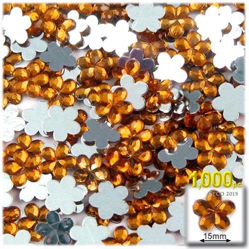 Rhinestones, Flatback, Flower, 15mm, 1000-pc, Orange