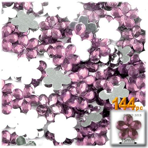 Rhinestones, Flatback, Flower, 15mm, 144-pc, Light Baby Pink
