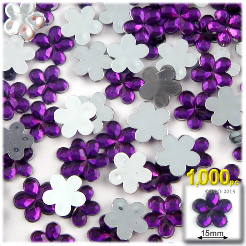 Rhinestones, Flatback, Flower, 15mm, 1000-pc, Purple