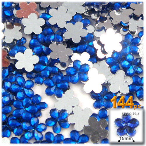 Rhinestones, Flatback, Flower, 15mm, 144-pc, Royal Blue