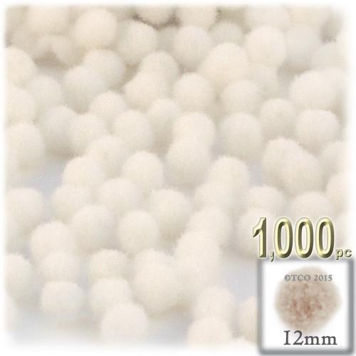 Acrylic Pom Pom, 12mm, 1,000-pc, Cream