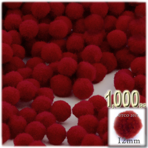 Acrylic Pom Pom, 12mm, 1,000-pc, Dark Red