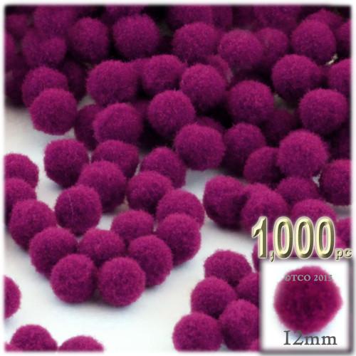 Acrylic Pom Pom, 12mm, 1,000-pc, Fuchsia