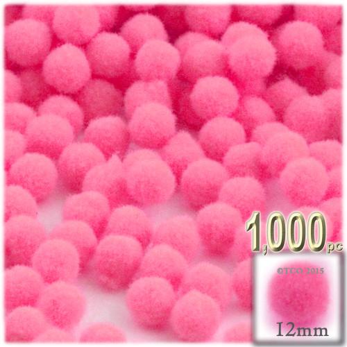 Acrylic Pom Pom, 12mm, 1,000-pc, Hot Pink