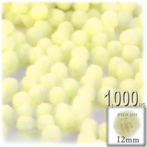Acrylic Pom Pom, 12mm, 1,000-pc, Light Yellow