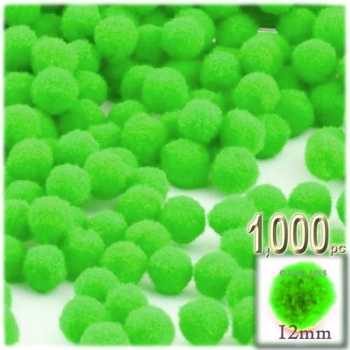 Acrylic Pom Pom, 12mm, 1,000-pc, Neon Green