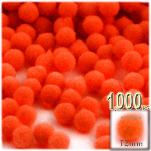 Acrylic Pom Pom, 12mm, 1,000-pc, Neon Orange