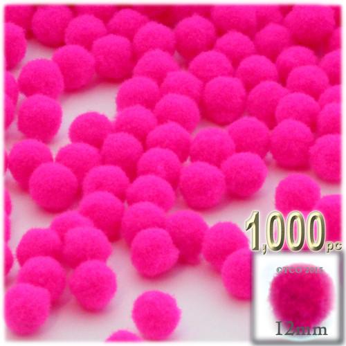 Acrylic Pom Pom, 12mm, 1,000-pc, Neon Pink
