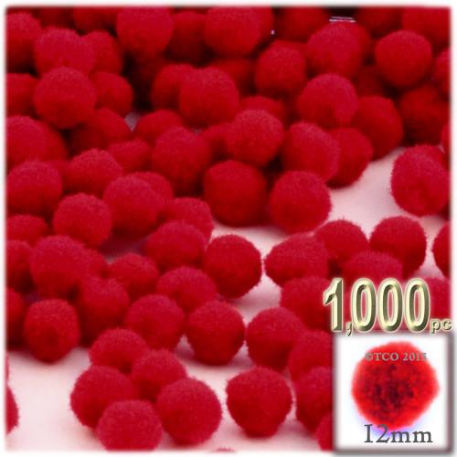 Acrylic Pom Pom, 12mm, 1,000-pc, Red