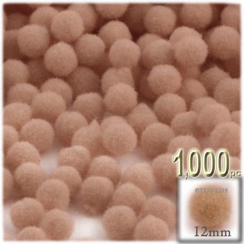 Acrylic Pom Pom, 12mm, 1,000-pc, Tan