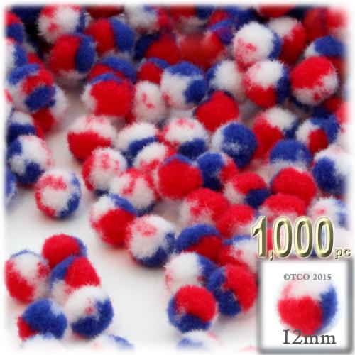 Acrylic Pom Pom, 12mm, 1,000-pc, Tri-Color Red White and Blue
