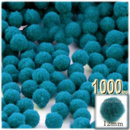 Acrylic Pom Pom, 12mm, 1,000-pc, Turquoise Blue