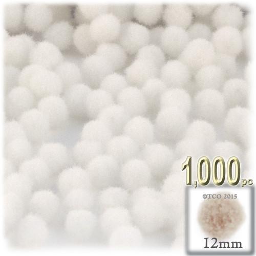 Acrylic Pom Pom, 12mm, 1,000-pc, White