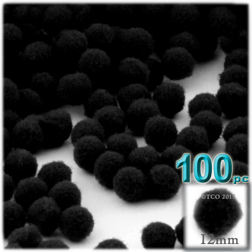 Acrylic Pom Pom, 12mm, 100-pc, Black