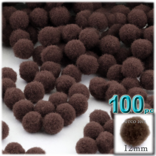 Acrylic Pom Pom, 12mm, 100-pc, Coffee Brown