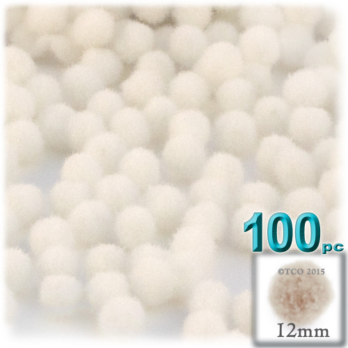Acrylic Pom Pom, 12mm, 100-pc, Cream