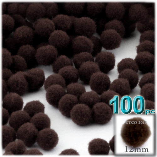 Acrylic Pom Pom, 12mm, 100-pc, Dark Brown