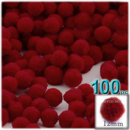 Acrylic Pom Pom, 12mm, 100-pc, Dark Red