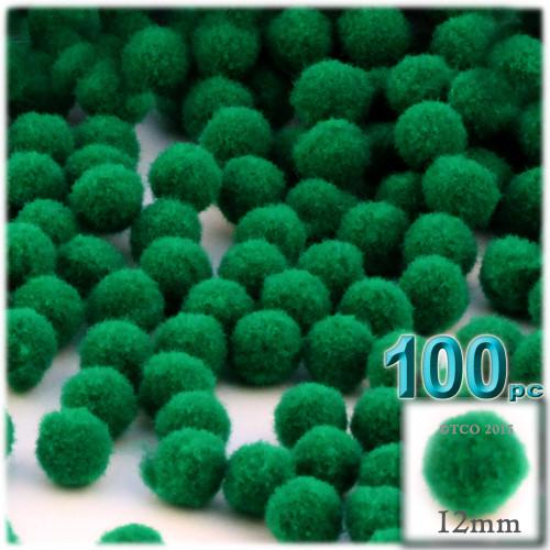Acrylic Pom Pom, 12mm, 100-pc, Emerald Green