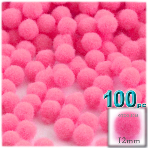 Acrylic Pom Pom, 12mm, 100-pc, Hot Pink