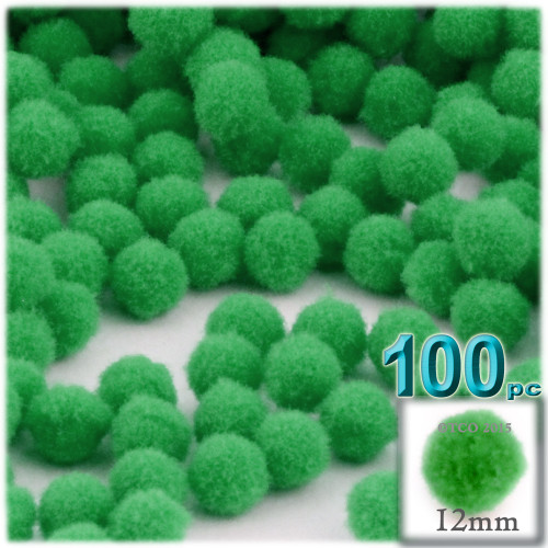 Acrylic Pom Pom, 12mm, 100-pc, Light Green