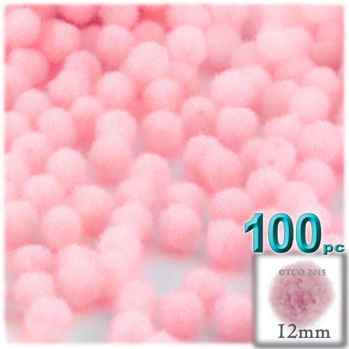 Acrylic Pom Pom, 12mm, 100-pc, Light Pink
