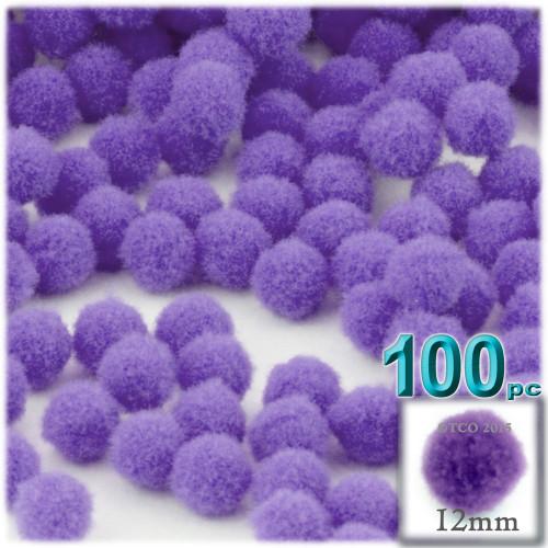 Acrylic Pom Pom, 12mm, 100-pc, Light Purple