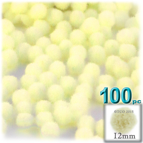 Acrylic Pom Pom, 12mm, 100-pc, Light Yellow